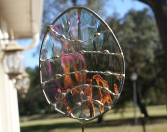 Stained Glass Easter Egg Garden Stake/Garden Marker in Clear Irridescent Waterglass - Large Egg Plant Stake