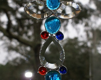 """Stained Glass Abstract Bevel with Turquoise Blue - Red - Cobalt Blue Crystal Gems Suncatcher - Finished Size 8.5"""" x 5.5"""""""