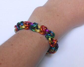 Rainbow Byzantine Toggle Clasp Bracelet