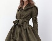 Army Green Hooded Jacket Fluffy Artificial Suede Leather Hoodie Autumn Coat long sleeves custom Women Tunic - NC266