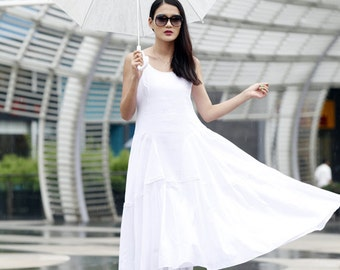 On Sale Size XXS Casual and Loose Fitting Vest Top Big Sweep Cotton Long Dress in white- NC466-1