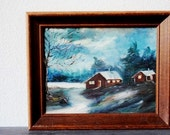 Framed Vintage Art Painting, Oil on Canvas, Blue Scenic Winter Lake House Rustic Cabin Decor