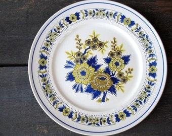 Mikasa Vintage China Platter Plate, Olive Green & Blue Flowers, 1970s Dinnerware