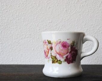 Antique German Shaving Mug, Art China Pink Rose Soap Mustache Cup