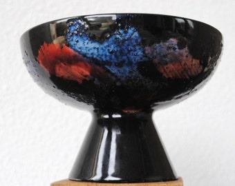 Mid Modern Art Vase Inarco Black Frog Flower Bowl, RARE Splatter Pink Blue Vintage Decor