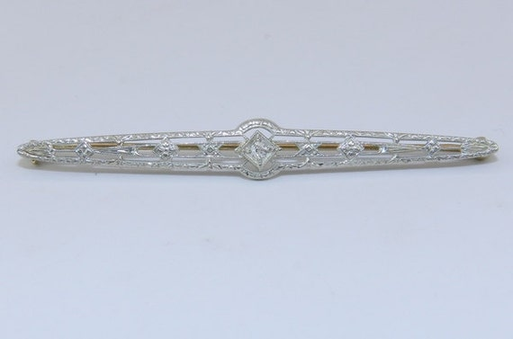 Art Deco Diamond Brooch Antique Pin Filigree 18K White Yellow Gold Stick Pin Circa 1920's