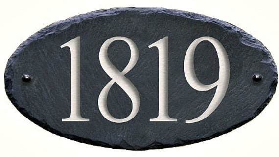 SLATE House Numbers Carved Stone Home Address By