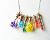 Little Rainbow Bottle Necklace. Miniature Jars. Rainbow Bottles. Tiny Glass Vials - aptoArt