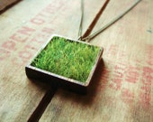 Wood and Grass Necklace, Faux Grass in Square Genuine Wood Bezel on Brass Chain