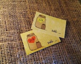 SET OF 25 Rustic Elegance Mason Jar Place Escort Table Drink Cards - plain flat Style custom colors available