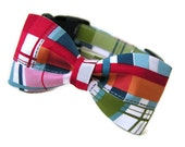 Plaid Dog Bowtie Collar- SALTER PATH Available in All Sizes - Doggy Bowtie for your Preppy Pup