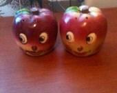 Vintage Kitschy Anthropomorphic Apple Salt & Pepper Shakers