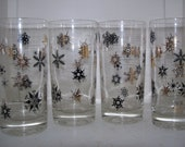 Vintage Federal Black and Gold Snowflake Glassware