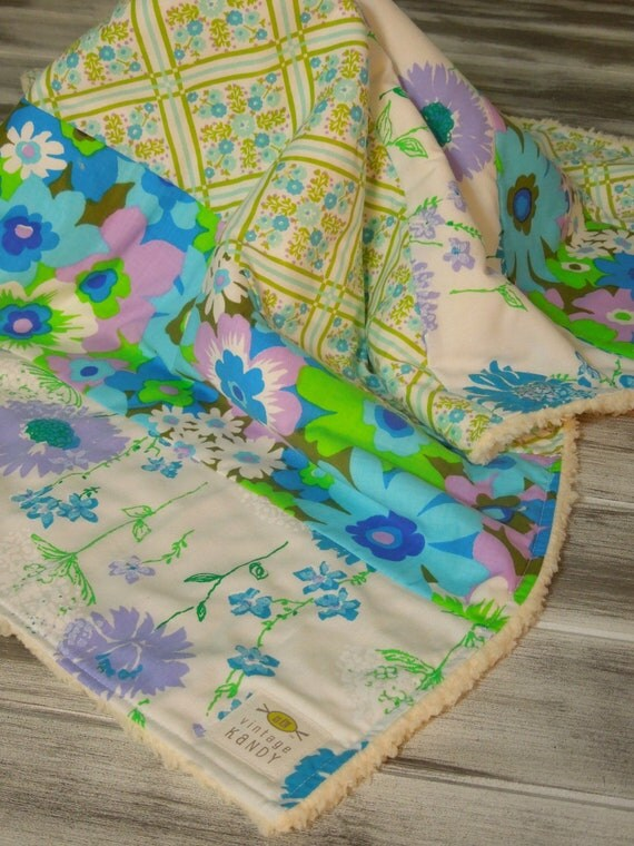 Sweet Vintage Baby Blanket - Modern Quilt - Ultra Plush Minky Fleece Backing - (Ready to Ship) - Garden Party