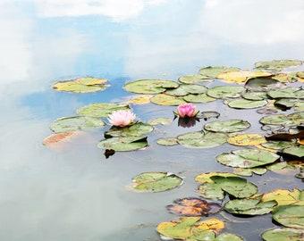 waterlilies art, Water Lilies, wall decor, claude monet art, nature inspired art, impressionist, giverney, monet, pastel, art print, art