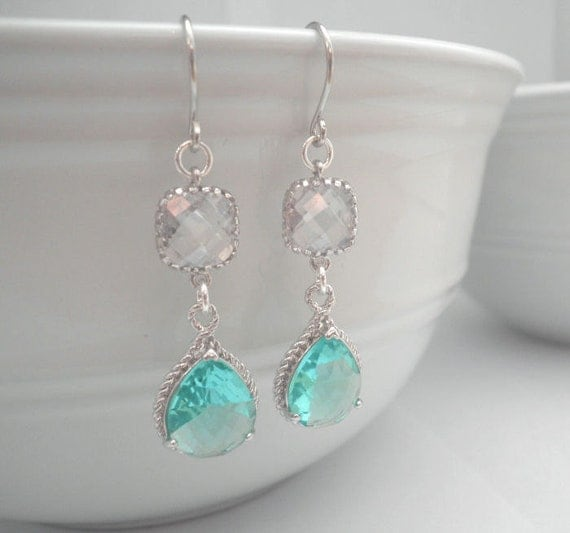 RESERVED for Jenna--Dangle Earrings, Silver Earrings, Clear, White, Blue, Green, Glass, Wedding Jewelry, Gift, Bridal Jewelry, Tiffany