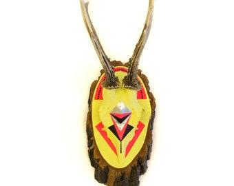 NEON YELLOW & PINK bright asymmetric geometric aztec navajo arrow chevron painted deer skull and antlers - xmas wall art decor gift