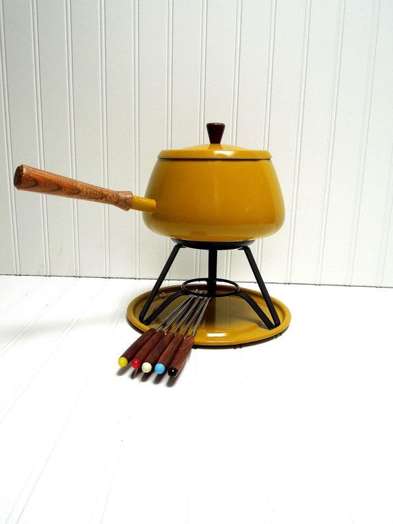 Vintage Fondue Set Mustard Yellow Mid Century Fondue Set