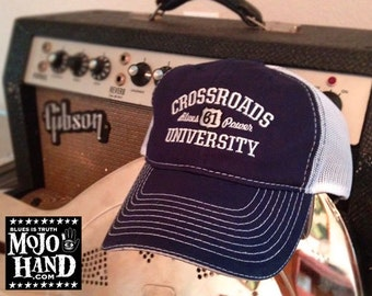 Embroidered Crossroads Blues Hat from Mojohand.com - delta blues music themed cap
