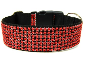 "Rhinestone Dog Collar 1.5"" Red Dog Collar"