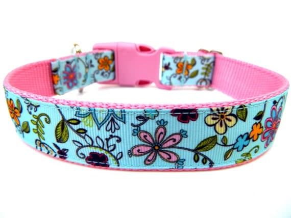 Floral Dog Collar Pink and Blue Flowers Matching Dog Collar Flower Available