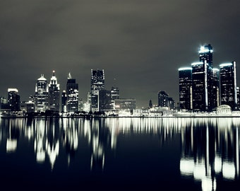 Detroit Photography - Detroit Night Reflection Skyline - Fine Art Print