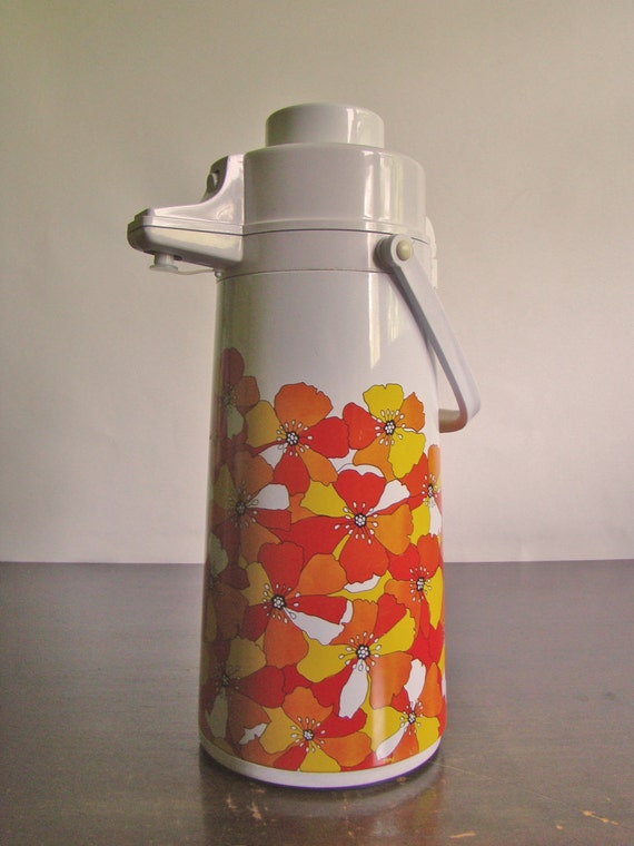 giant vintage 'Whale' Airpump floral thermos in red, orange, and yellow