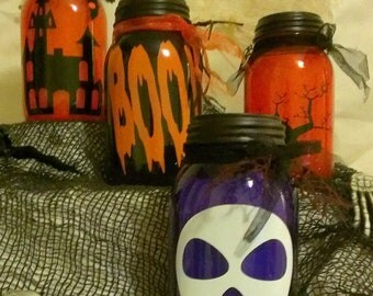 Halloween solar powered mason jar