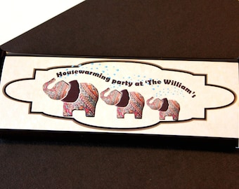 Printable DIY Elegant 3 Elephant party favors personalized Hershey chocolate wrappers PDF file
