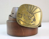 1970s Brass Sunrise Belt Buckle with Brown Leather Strap Size 32