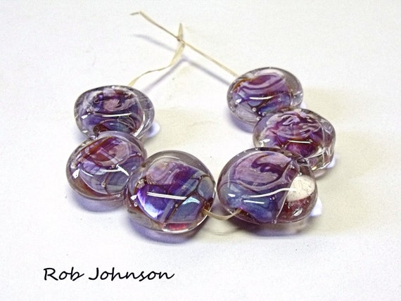 Angel Kisses, Lampwork Glass Pebble Beads
