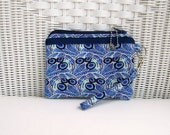 Blue Handmade Wristlet / Padded Purse / Small Purse / Womens Purse
