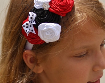 Multiple Flower Ribbon Rose Headband surrounded by Bird Cage