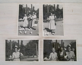 vintage black and white ladies with pigeons photos from australia