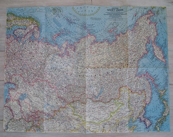 1967 eastern soviet union national geographic wall map