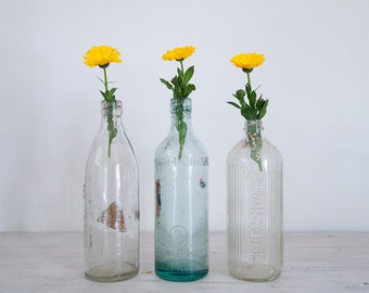 vintage clear bottles/vase trio