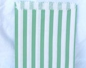 ViNTaGe SWeeT SHoP PaPER BAGs-- Green and WHiTe STRiPe party favors--gifts---weddings--showers--25ct