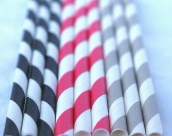 Raider -- Red, black and grey-Striped-Paper Straws---25 ct with Free Printable diy Flags