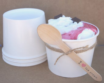 25 Large-ICE CReaM Cups with FREE Diy Printable-16 oz white---Wedding/Party Favors-25ct