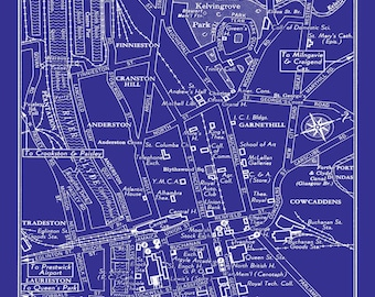 1949 Vintage Map of Downtown Glasgow Scotland Blueprint Print Poster
