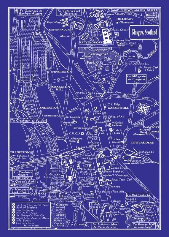 1949 Vintage Map of Downtown Glasgow Scotland 20x30 Blueprint Print Poster
