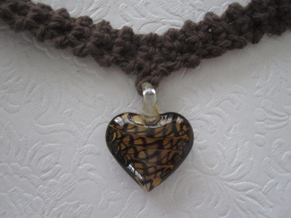 Crochet Necklace with Brown Swirled Lampwork Heart Pendant