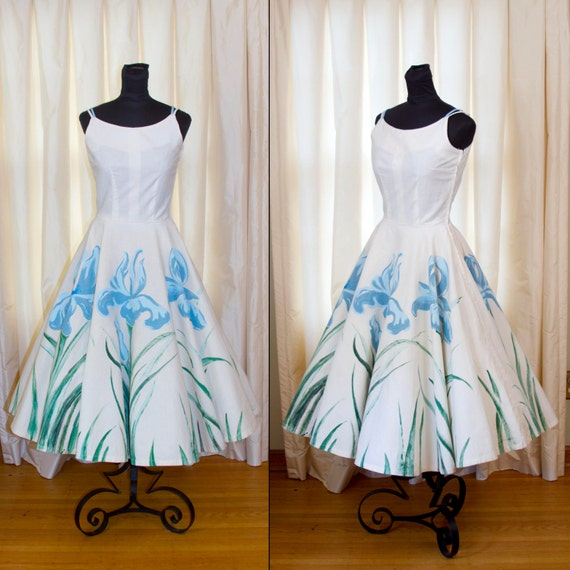 1950 S Dress Hand Painted Iris Flowers Full By