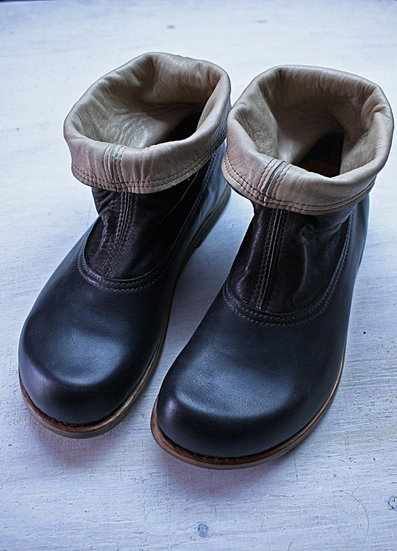 dandy BOOTS  NUMBER 41 made with 3 different and soft leathers, unique and exclusive pair