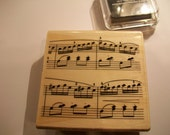 Wood Mounted Rubber Stamp Vintage Musical Notes