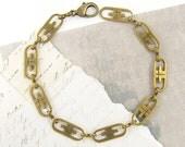 Brass Chain Bracelet, Retro Bracelet, Link Metal Bracelet, Vintage Style Brass Chain Link Bracelet |BC2-4