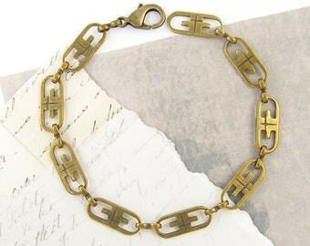 Brass Chain Bracelet, Retro Bracelet, Link Metal Bracelet, Vintage Style Brass Chain Link Bracelet  BC2-4
