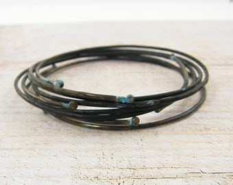 Rustic Bangle Bracelets, Dark Metal Wire Bangle Bracelets, Boho Chic Patina Hammered Wire Jewelry