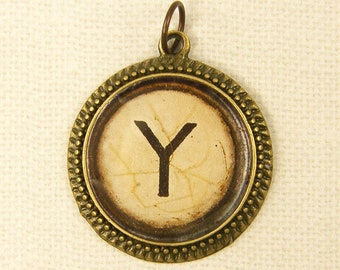 Letter Y Pendant - Initial Jewelry Personalized Resin Circle Alphabet Charm Old Typewriter Key Pendant