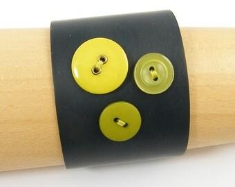 Large Cuff Bracelet Green Button Bracelet Wide Dark Brass Cuff Green Brown Cuff Olive Chartreuse Metal Statement Jewelry